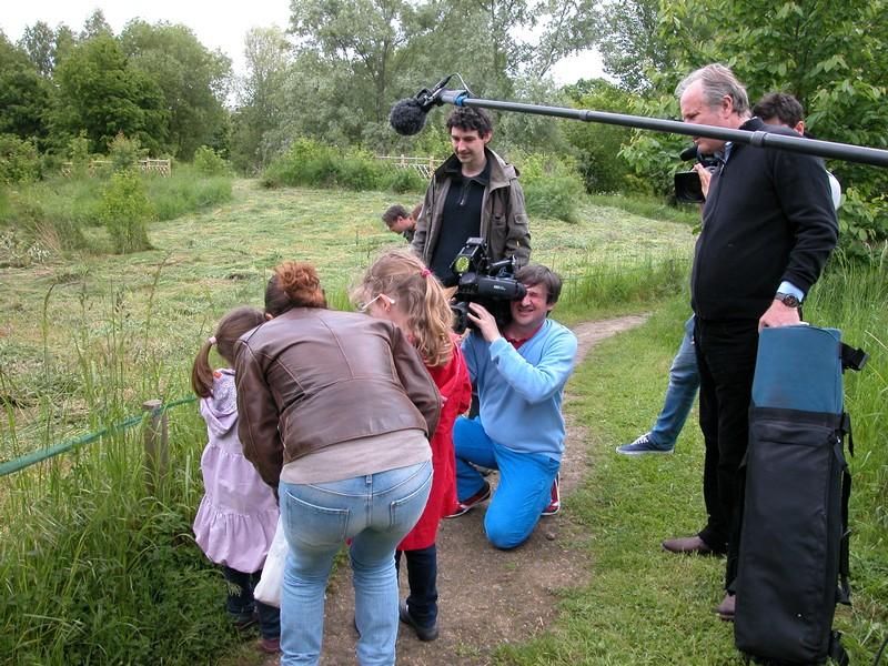 L'équipe de TF1 filmant l'animation.